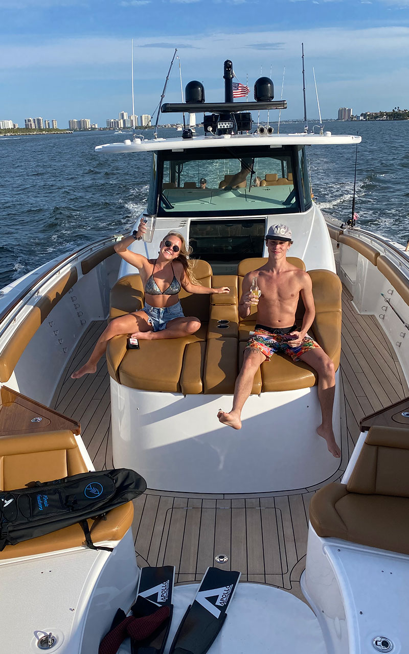 guest in the best seats aboard charter yacht trips