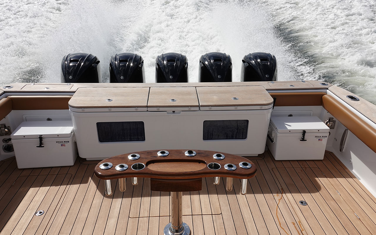 The five 425hp Yamaha engines of Pipe Dream charter yacht