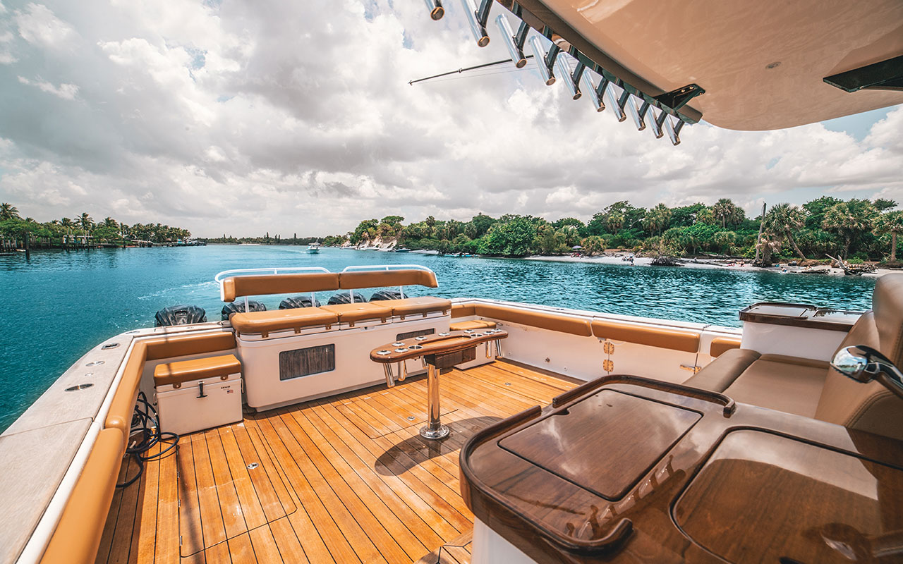 stern cockpit of exclusive boat charter rental